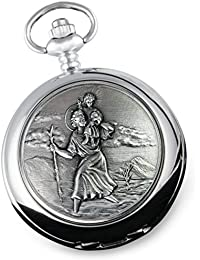 De Walden Boy's Christening Gift, Engraved St Christopher Mother of Pearl Face Pocket Watch in a Gift Box