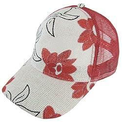Women Nylon Mesh Red Flowers Prints Wide Visor Adjustable Slouch Cap
