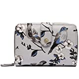 Miss Lulu Women Grey Flower Bird Purse Oilcloth Short Wallet Clutch Hand Bag