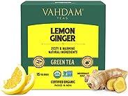 VAHDAM - Organic Ginger Lemon Green Tea -15 Green Tea Bags   Lemon Tea - Rich in Vitamin C   Certified Organic