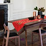 #6: indoAmor Table Runner - Embroidery and Sequin Work on Velvet (15x70 inches) - for Dining Table & Center Table (Red Color)