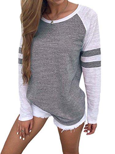 Famulily Damen Streifen Langarmshirt Tops Elegant Lose Baseball T-Shirt Sweatshirt Bluse (42, Grau)