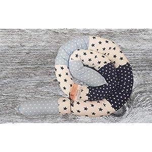 Bettschlange, Tricolore Blau, 180cm bis 300cm wählbar, Handmade, ÖKO-TEX® Standard 100 zertifizierte Materialien, 100% Made in Germany