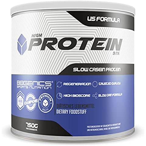 BBGENICS, High Protein 91%, meno dell'1% di grassi, 1% Carboidrati, caseina e siero, proteine in polvere senza aspartame, 750g vaniglia