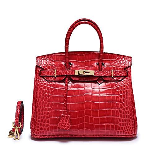 2019 Damen Europa und Amerika Echte Leder Chinesisches Rot 25 * 13 * 18 cm Krokodilmuster Platin-Paket Mode Wild Umhängetasche Weibliche Tasche Handtasche Abendessen Geldtasche (Chinesische Rote Pakete)