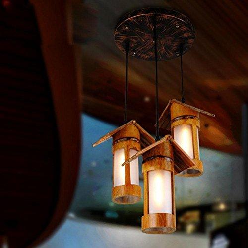 BJVB Paese-stile bambù Downlights lampadario legno canapa