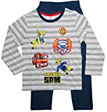 Feuerwehrmann Sam Schlafanzug Jungen Lang (Grau-Blau, 104)