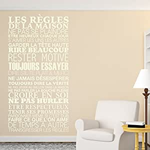 sticker mural les r gles de la maison 61x120 cm beige. Black Bedroom Furniture Sets. Home Design Ideas