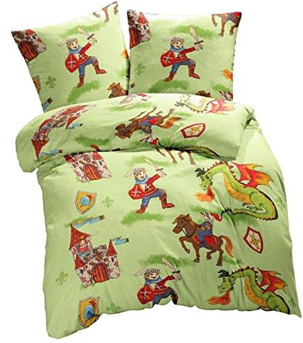 Aminata Kids - Kinder-Bettwäsche-Set 135-x-200 cm Ritter-Burg-Motiv Schloss Drache -n 100-% Baumwolle Renforce bunt-e hell-Gruen-e