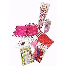 Juego de Decoracion Cumpleaños 93 piezas fucsia/lila/rosa/rojo. Fiestas de Jardin, Cumpleaños, Fiestas Infantiles.