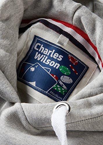Charles Wilson Herren Kapuzenpullover aus mittelschwerer Baumwollmischung Grau Meliert