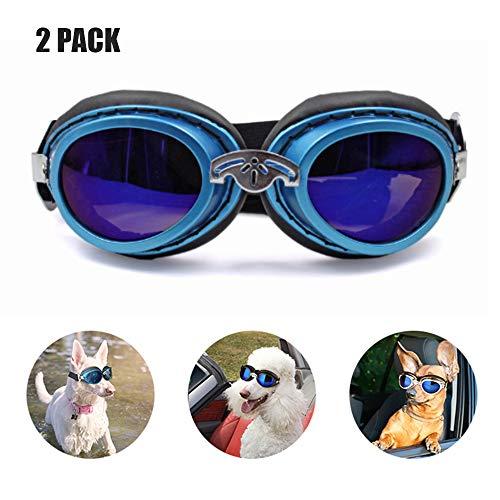 YOCC Pet-Brille & Pet-Sonnenbrille, Motorrad Wasserdichte Doggie-Sonnenbrille Big Dog Eye Wear Schutz UV-Schutz/faltbar/verstellbares Band Anti-Fog