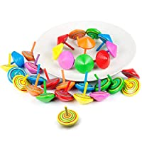 Wolintek Spinning Tops, Set of 30 Wooden Spinning Tops for Kids Birthday Party Favours, Party Bag Fillers, Party Supplies Decorations