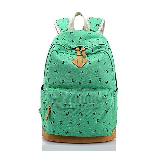Borsa leggera dello studente della tela di canapa del sacchetto da 16 pollici del sacchetto del computer portatile per le ragazze adolescent verde