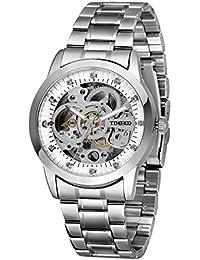 Time100 diamant Fashion hommes Squelette en acier inoxydable montre mécanique automatique avec lumineux mains W60042G.03A
