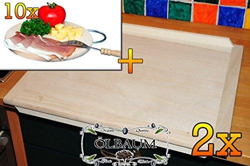 Buche - SPÜLMASCHINENFEST '*' -Hack-und Backbrett ca. 16 mm Dicke natur 2 Stück, mit abgerundeten Kanten, Maße viereckig je ca. 49 cm x 69 cm & 10 mal Hochwertiges, dickes ca. 16 mm Buche - SPÜLMASCHINENFEST '*' -Grill-Holzbrett natur mit Metallhenkel, Maße rund ca. 25 cm Durchmesser als Bruschetta-Servierbrett, Brotzeitbretter, Steakteller schinkenbrett rustikal, Schinkenteller von BTV, Brotzeitteller Bayern, Wildbrett, Wildbret,