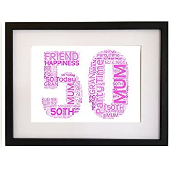 Personalised 50th Birthday Gift Present Word Art Print (WITH FRAME ...