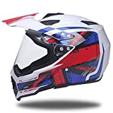 Motorradhelm MäNner Full Face Helm Vier Jahreszeiten Anti-Fog Jethelm Coole Lokomotive Racing Face Helm,N-S