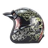 LYJNBB Casco Mezzo Motocicletta, Open Face Caschi Harley Vintage Cinturino a sgancio rapido per Moto Cruiser DOT Approved,C,M