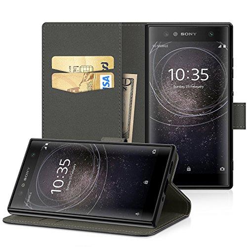 EasyAcc Sony Xperia XA2 Hülle Case, PU Kunstleder mit Kartenhalter und Faltbare Tasche Handyhülle mit Standfunktion Brieftasche Handy Schutzhülle für Sony Xperia XA2 - Schwarz