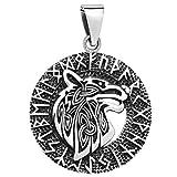 schmuxxi Wolf Anhänger 925 Silber im Runen Kreis 27mm für Damen und Herren