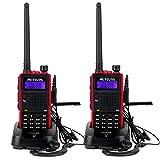 Retevis RT5 Funkgerät Set Walkie Talkie 128 Kanäle Dualband UHF/VHF 2m/70cm Dual Frequenz Dual Standby VOX FM Radio 50 CTCSS/105 DCS 1750HZ TON 1400mAh Funkgerät mit Taschenlampe (2 Stk. Schwarz mit Rotem Rand)