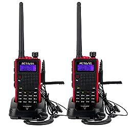 Retevis RT5 Funkgerät Große Reichweite Dualband Handfunkgerät 2m/70cm Hohe Leistung 128 Kanäle CTCSS/DCS 1750Hz VOX FM Radio 2 Way Radio (2 Stücke)