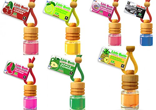 7 L&D Little Bottle Duftflakons fürs Auto und Wohnung BESTSELLER TESTPAKET: 1x Pinapple - Ananas, 1 x Bubble Gum - Kaugummi, 1 x Cherry -Kirsche, 1 x Green Apple - Apfel, 1 x Lemon - Zitrone , 1 x New Car, 1 x Watermelon - Wassermelone