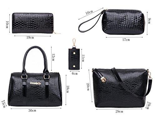 Tibes Pu sac à main femme en cuir + sac à main Boston + sac crossbody + portefeuille + sac à main portable + porte-clés Ensemble 6 pièces Satchel Bleu