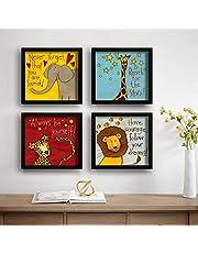 SAF Animals Designer Set of 4 UV Textured Painting (19 x 19 Inches, SAF_SET4_8)