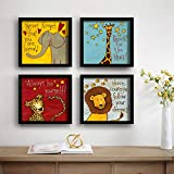 SAF Animals Designer Set of 4 UV Textured Painting (19 x 19 Inches, SAF_SET4_8)