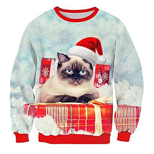 Leapparel Weihnachten Sweatshirt Unisex Funny Cute Santa Elf 3D Design Langarm Ugly Sweater Blau L