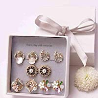 5 pair/set Lovely Earring Set Pearl Stud Earring Week Jewelry for Women