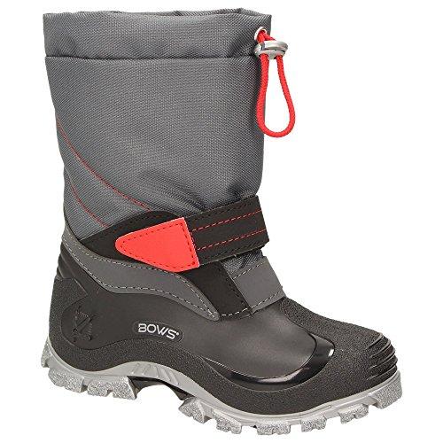 BOWS® -BEO- Unisex Kinder Schnee Stiefel Winter Schuhe Mädchen Jungen Stiefel wärmend wasserabweisend wasserdicht Phthalat-Frei, Schuhgröße:35, Farbe:rot-grau