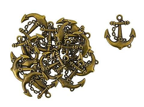 MANDALA Crafts® Wholesale Ancre Marine Laiton antique Tone Pendentif Perles pour création de bijoux, Lot de