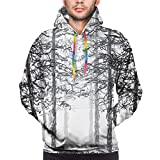 Photo de Men's Hoodies Sweatershirt,Monochrome Nature Sketch Abstract Scribble Style Tall Trees Timberland Grove,3D Printing Long Sleeve Casual Sweatershirt Tops,Size L par Hicyyu