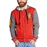 Harry Potter College Jacke mit Kapuze Gryffindor Wappen von Elbenwald Rot Grau - S