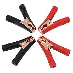 Pinzas de cocodrilo ESUMIC® con aislamiento, mango de plástico, batería de prueba, color rojo y negro, 100 A (paquete de 4 unidades)