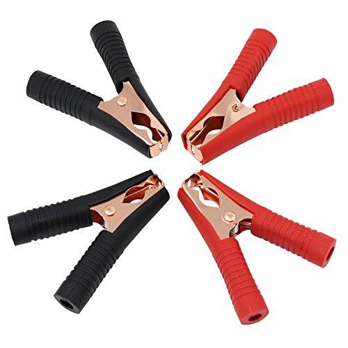 ESUMIC® Metall Krokodilklemmen Isolierte Stiefel Kunststoff Griff Prüfspitze Batterie Clips Rot und Schwarz 100A 4Pack