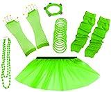 A-Express 80er Damen Neon Tütü Rock Ebene Beinstulpen Handschuhe Halskette Tüll Fluo Ballett Verkleidung Party Tutu Rock Kostüm Set (36-44, Grün)