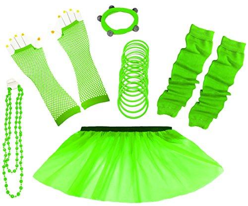 A-Express 80er Damen Neon Tütü Rock Ebene Beinstulpen Handschuhe Halskette Tüll Fluo Ballett Verkleidung Party Tutu Rock Kostüm Set (36-44, (Grüne Kostüme Handschuhe)