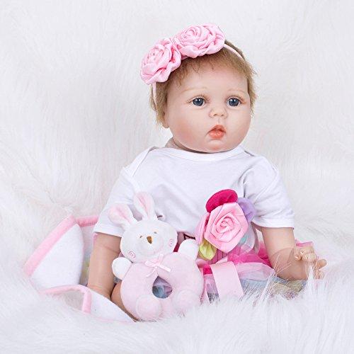 QXMEI Reborn Baby Puppen 22 Zoll Real Wie Kleinkind Baby Reborn Puppen Mädchen Huggable Stofftier ()