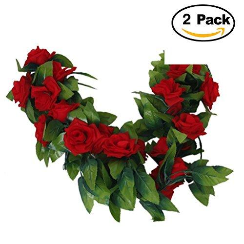 ULTNICE 2 Stück Seide Rosen-Girlande Deko Blumengirlande Kunstpflanze Kunstblume Girlande - Rose Garland