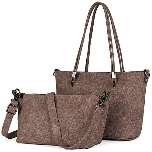 UTO Damen Schultertasche 2 Piece Shopper PU Leder Handtasche Purse Tasche Set Beige (Voll-leder-schulter-handtasche)
