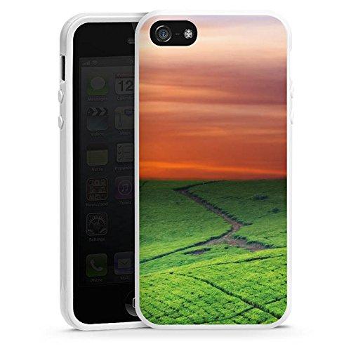 Apple iPhone 6 Housse Étui Silicone Coque Protection Paysage de prairies Coucher de soleil Irlande Housse en silicone blanc