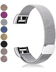 Mornex Bracelet pour Fitbit Charge 2,Bande en Acier Inoxydable Réglable Milanaise Remplacment Sangle pour Fitbit Charge 2