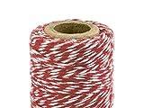 Baker's Twine, rocchetto di filo di cotone decorativo colorato per pacchi, 50m rosso/bianco