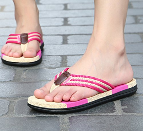 Weyeei Hommes Femmes Été Pantoufles Tongs Chaussures Plates Sandales de Plage de Plage Rose (femmes)