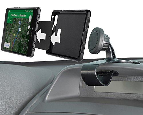 Lescars Kfz Halterung: Universal-Smartphone-Magnet-Halterung fürs Armaturenbrett, 360°-Gelenk (Handy Magnet)