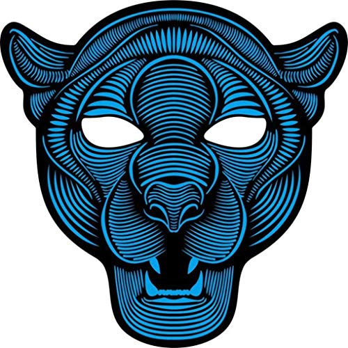 Sound Reaktive LED Halloween Masken,Saingace Sound Reactive LED Maske Tanz Rave Licht Einstellbare Maske Für Festival,Cosplay,Halloween,Kostüm,Batterie Angetrieben (C)
